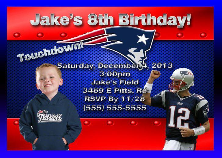 Nfl New England Patriots Kids Birthday Invite Design Nfl Themed Birthday Invitation Ide Birthday Invitations Birthday Invitations Kids Nfl New England Patriots