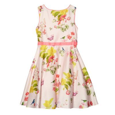 a6488487dd7d2b Baker by Ted Baker Girl s pale pink floral strawberry pattern full skirt  dress- at Debenhams.com