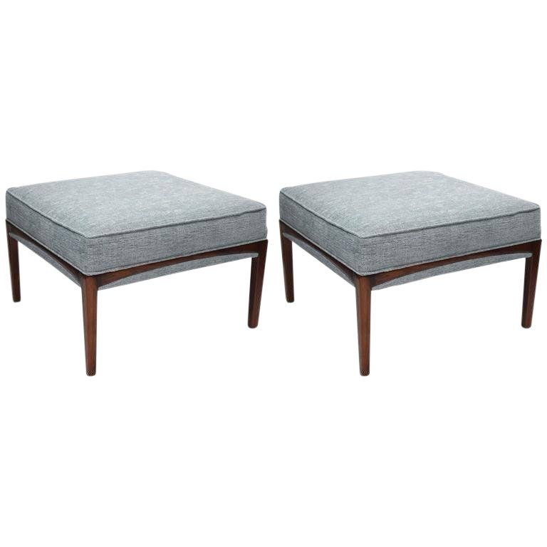 1960s Mid Century Modern Natural Walnut Ottomans A Pair