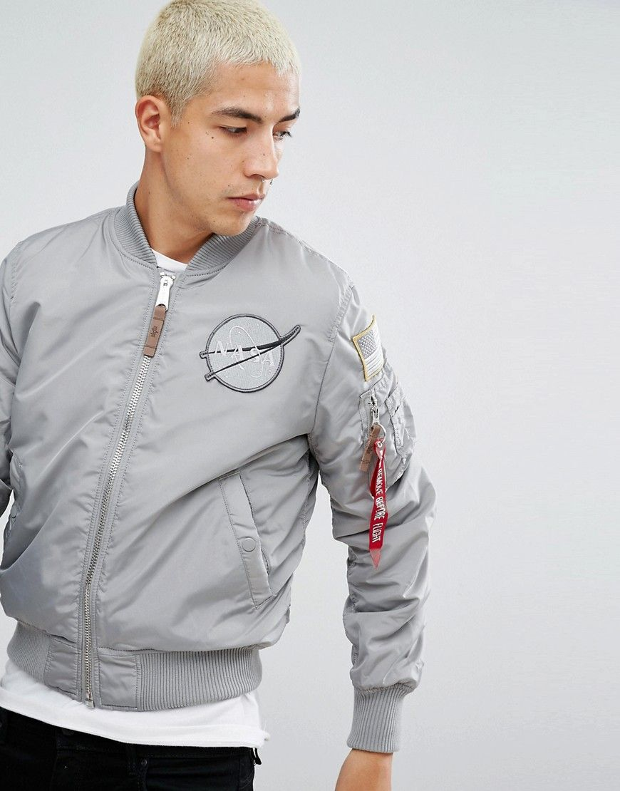 ALPHA INDUSTRIES MA-1 NASA REVERSIBLE BOMBER JACKET IN GRAY GALAXY PRINT -  SILVER.  alphaindustries  cloth   9c1de37d2fe