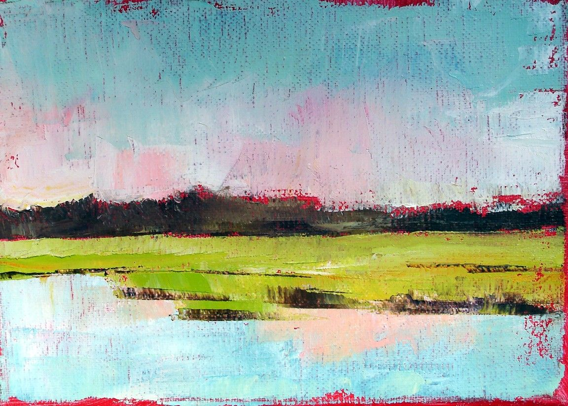 "Abstract coastal landscape ""Waterway Marsh 1"" 5x7 oil on linen. $75.00, via Etsy shop NancyHughesMiller"