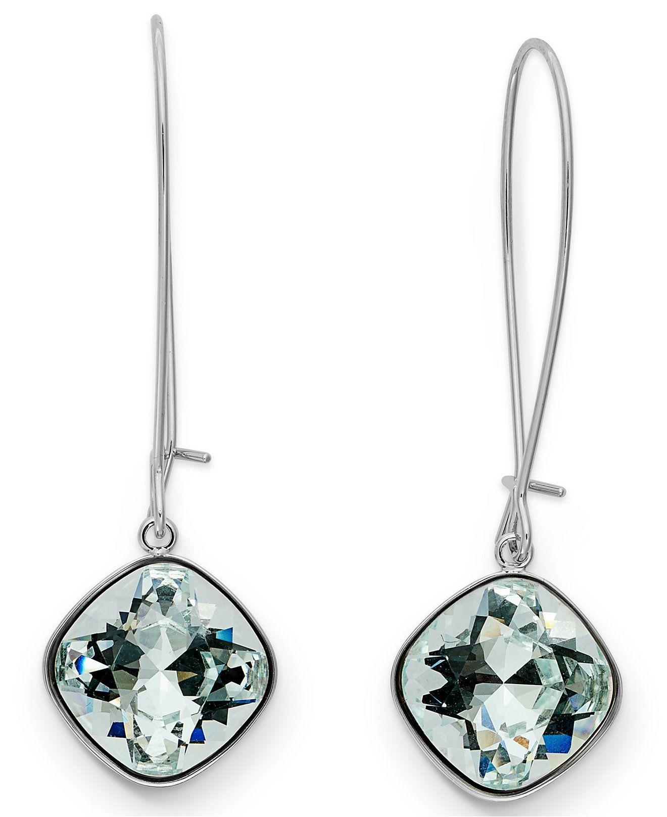 9e8984958 Swarovski Earrings, Rhodium-Plated Cushion Cut Light Azore Crystal Drop  Earrings - Jewelry & Watches - Macy's