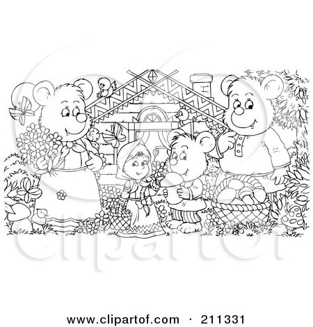 Royalty Free RF Clipart Illustration Of A Coloring Page Outline Bear Family And Goldilocks By Cabin Alex Bannykh