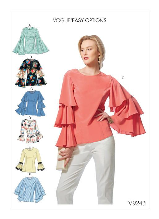 Vogue Misses\' Princess Seam Tops with Flared Sleeve Variations 9243 ...