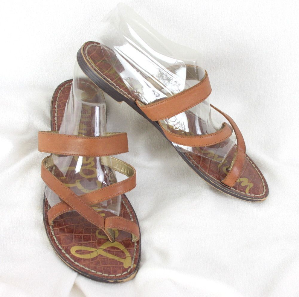 Cute Sam Edelman Sandals Size 10 Brown Leather Slip on Flip Flop Flats Toe Ring