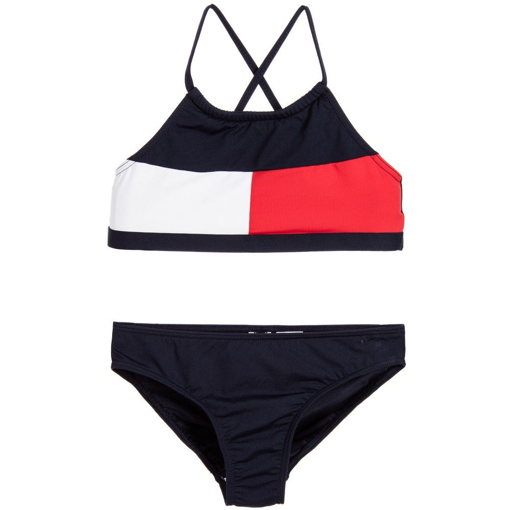 33f48730752 Tommy Hilfiger - Girls Navy Blue & Red Bikini | Childrensalon ...