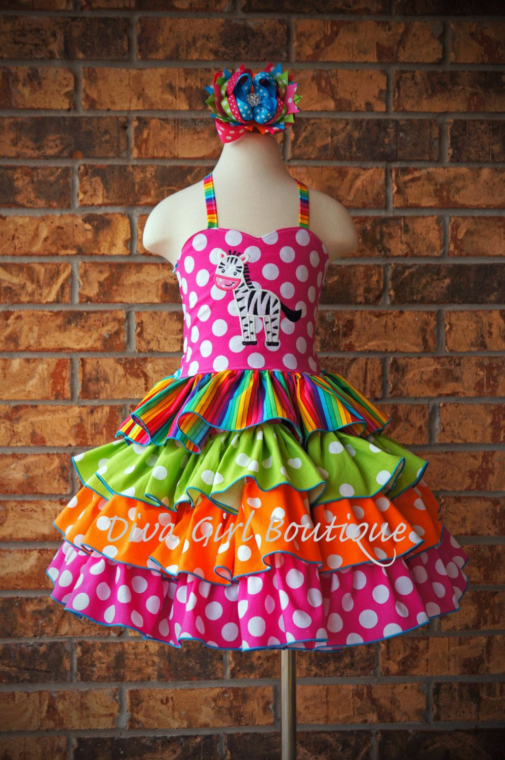 Boutique Girls Ruffle Dress Rainbow by divagirlboutique on Etsy, $109.50