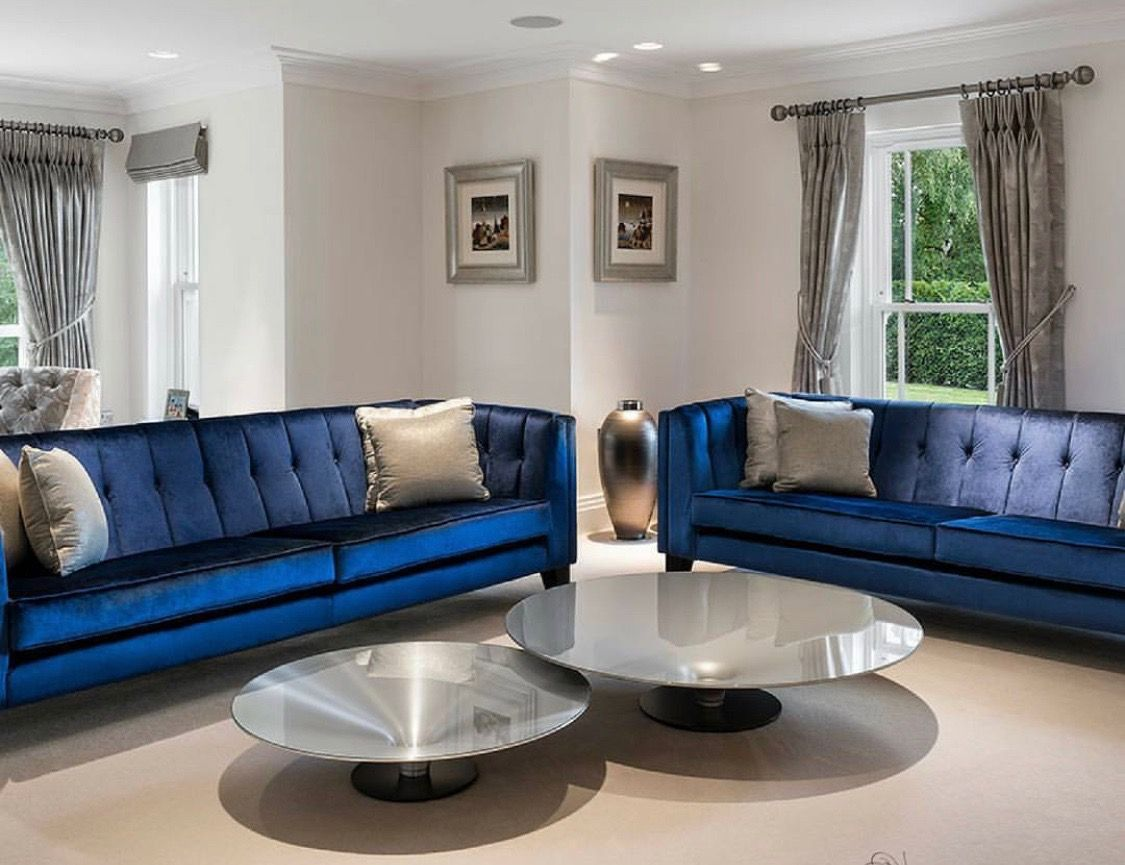 Navy Blue Tufted Sofa Royal Blue Sofa Decoraciondesala