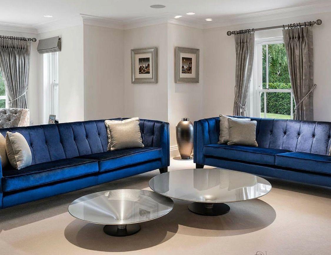 Navy Blue Tufted Sofa Royal Blue Sofa Tuxedo Sofa High End Living Room Dec Blue Living Room Decor Blue Furniture Living Room Luxury Furniture Living Room