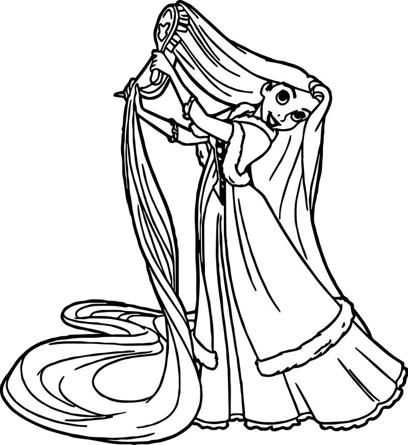 Princess Brush Hair Coloring Page