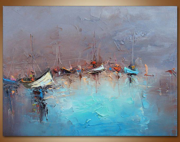 Bateaux voiles color es peinture peinture l huile for Art moderne abstrait