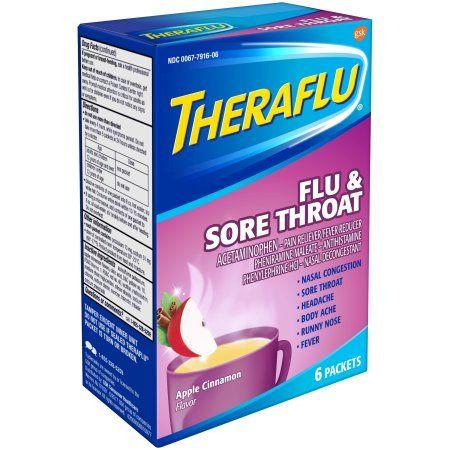 Theraflu Flu Sore Throat Medicine Apple Cinnamon Flavors