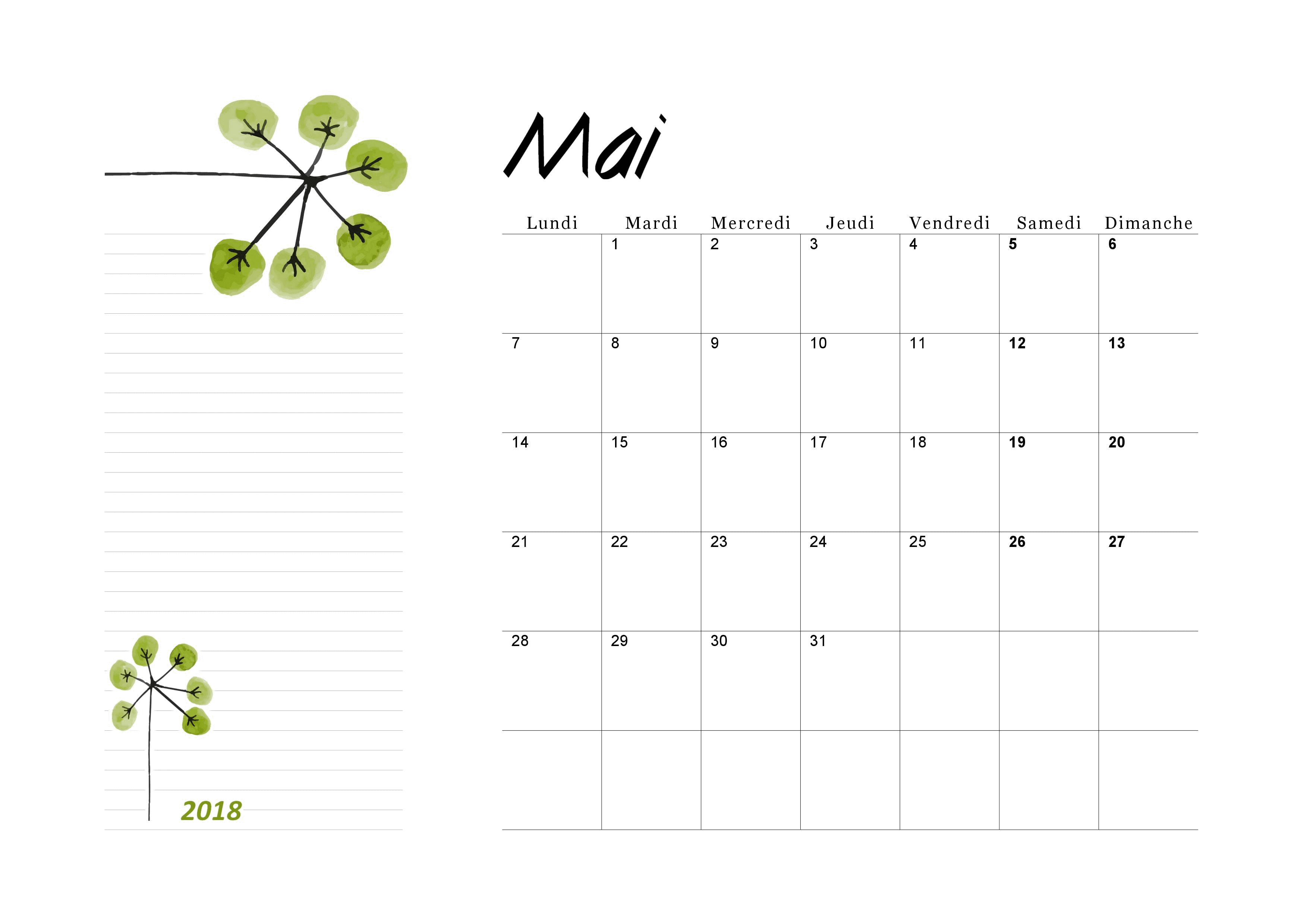 Calendrier Mai 2018 A Imprimer Calendriers Pdf Imprimables
