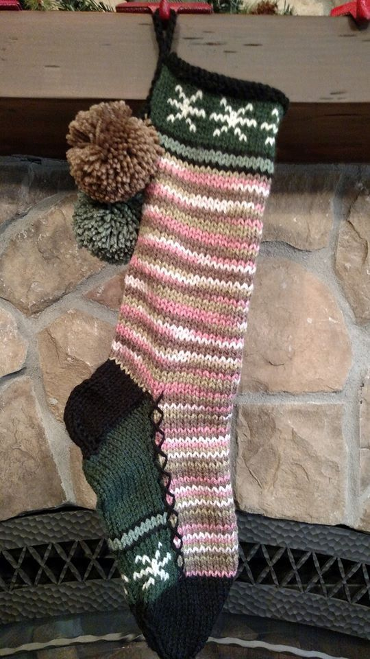 Old Fashioned Hand Knit Christmas Stocking Pink Camouflage with ...