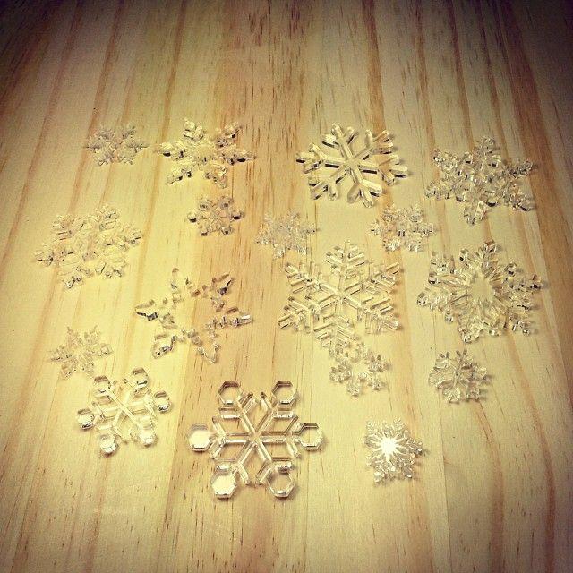 Crystal Clear Acrylic laser cut snowflakes!