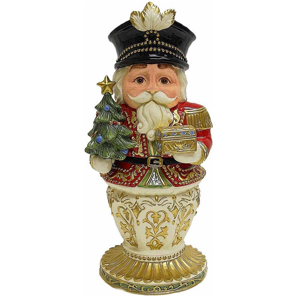 With a bright red coat and golden accents this nutcracker cookie jar is a beautiful Christmas piece. Description from everythingkitchens.com. I searched for this on bing.com/images