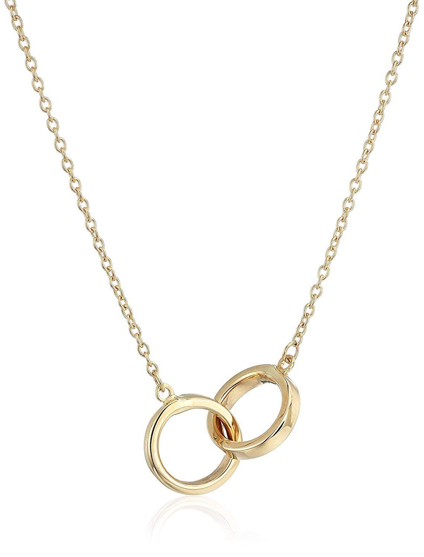 14k Yellow Gold Polished Interlocking Rings Necklace 17 Interlocking Rings Necklace Head Jewelry Necklace