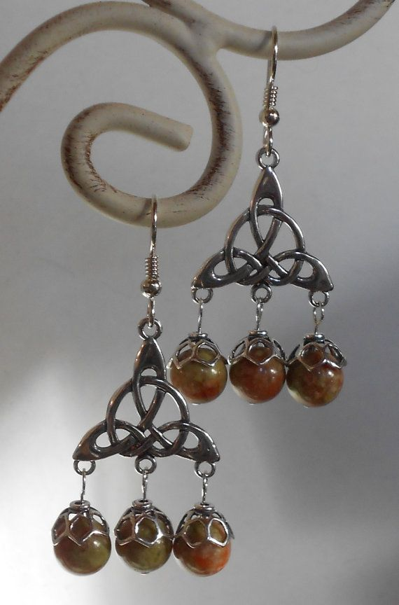 Earrings with Triquetra and Aventurine Beads Celtic Jewelry with Knots