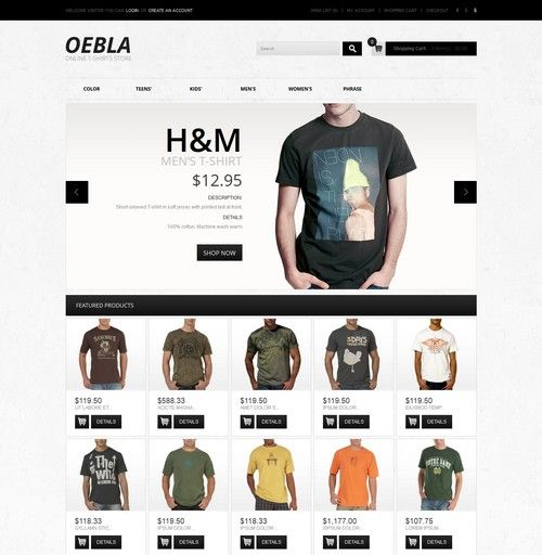 Online T-Shirt Store OpenCart Template | Templates to Create ...