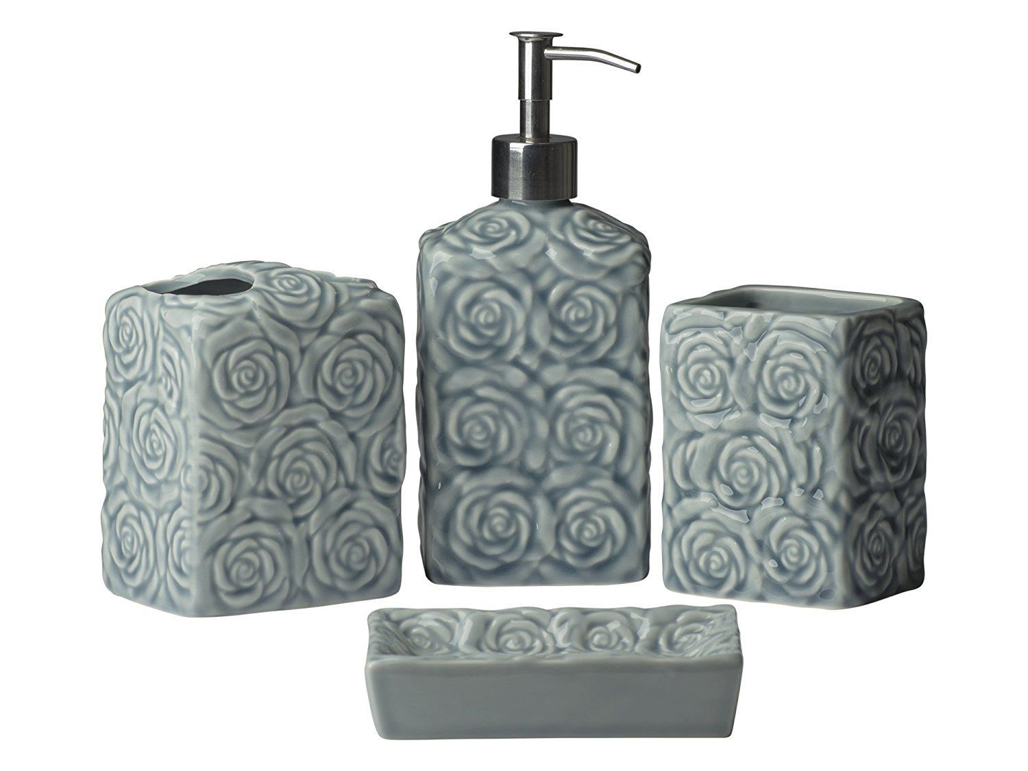 Piece Bathroom Accessories Set Wild Rose W Soap Or Lotion - Bathroom soap and lotion dispenser set
