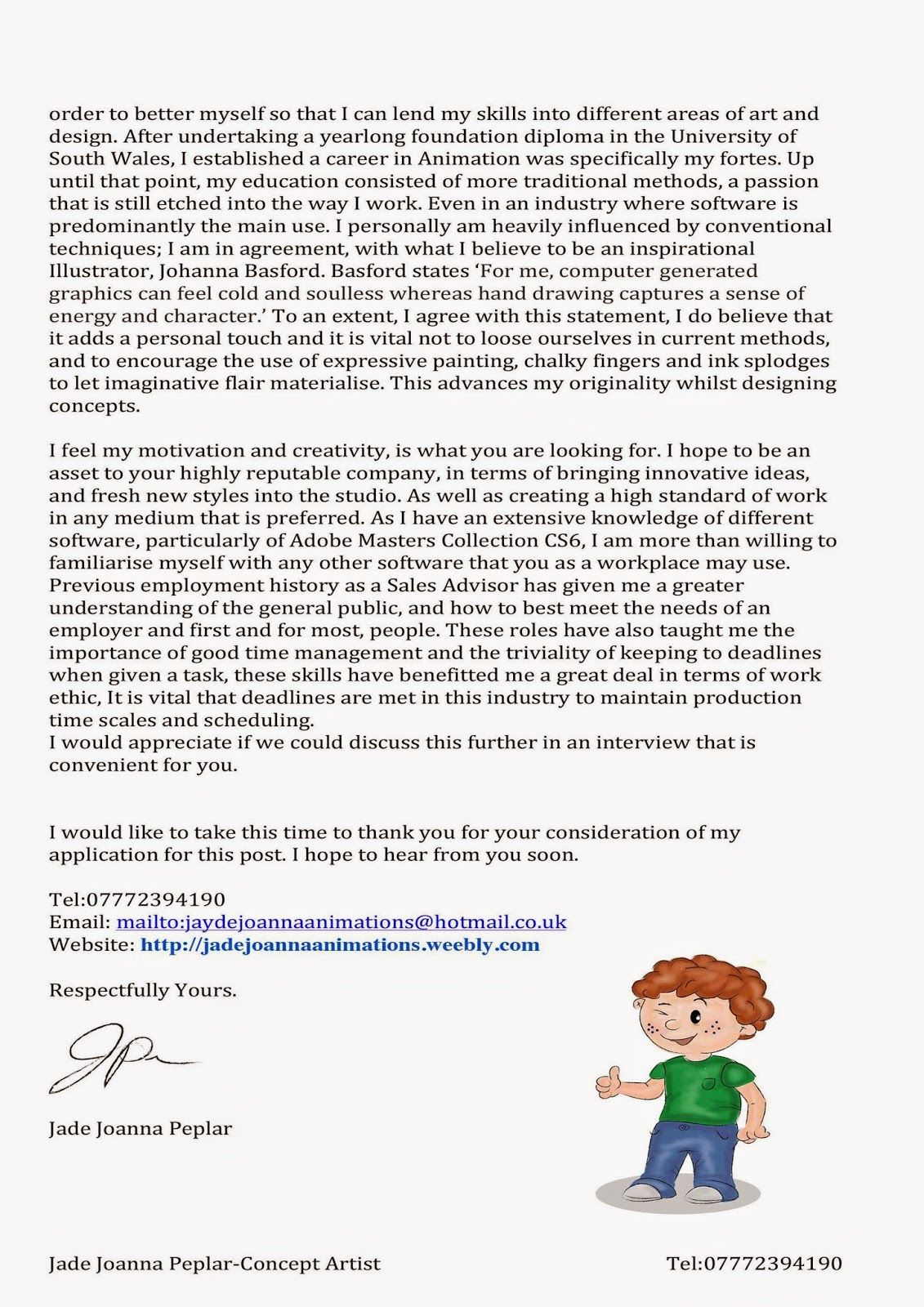 cover letter for 3d animation - Google Search | JB cover letter ...