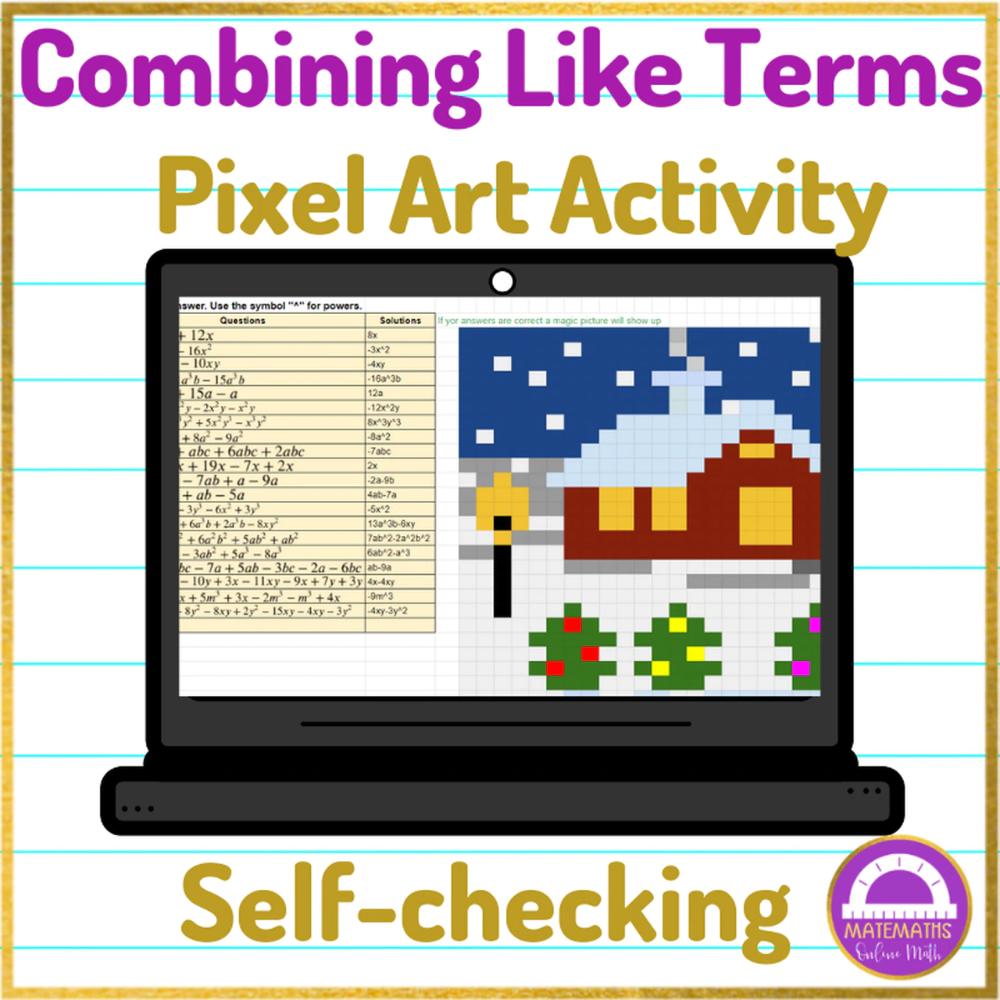 Combining Like Terms Worksheet Pixel Art Activity Google Sheets Like Terms Combining Like Terms Art Activities [ 1000 x 1000 Pixel ]