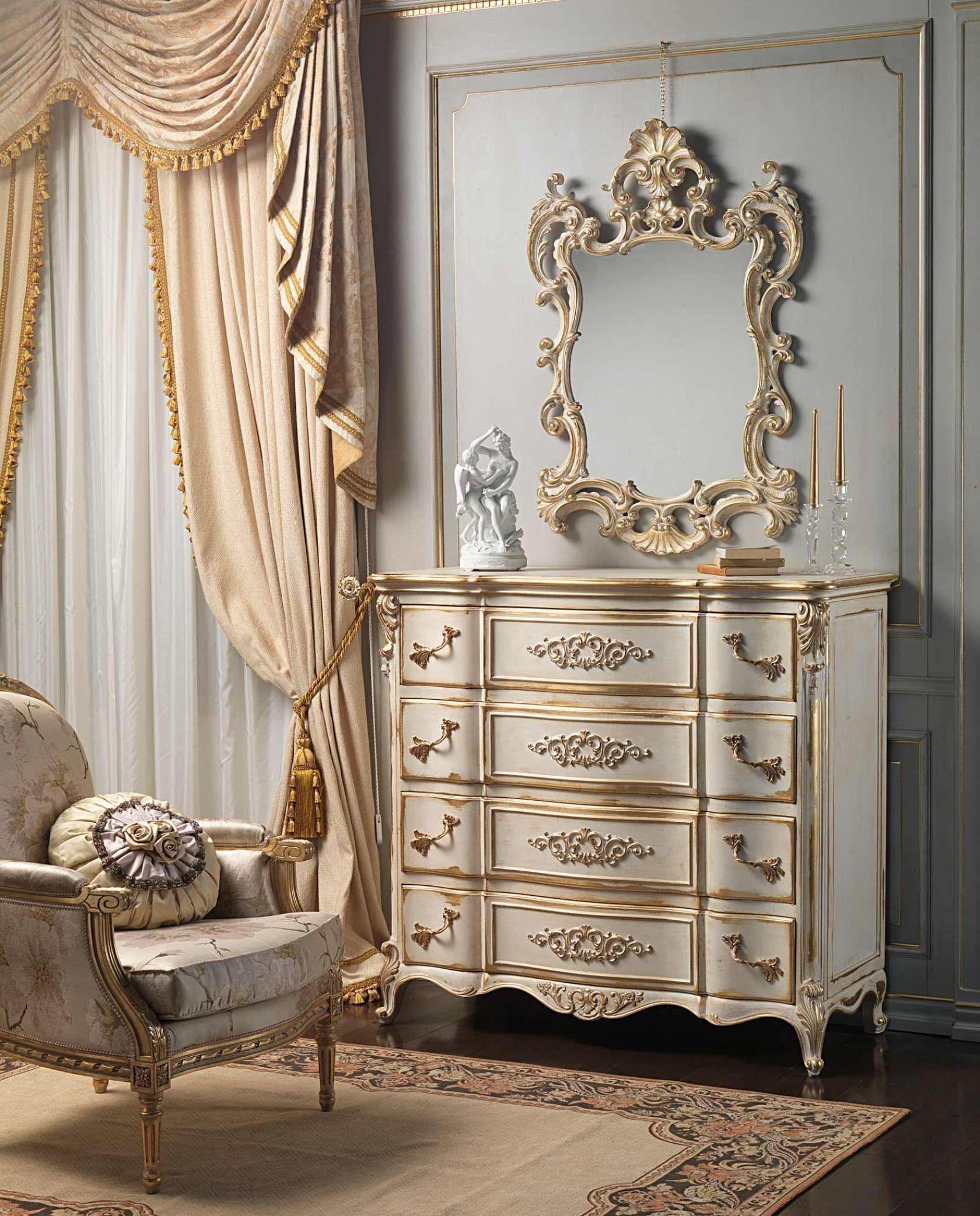 Louis Xvi White And Gold Classic Bedroom - Vimercati Classic