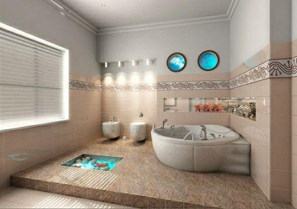 Elegant Maritim Deko Aquarium Beige Braun Meer Thema