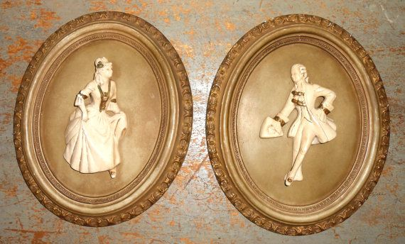 Vintage Wall Plaques, Victorian, Chalk Ware, Wall Decor, Plaster ...