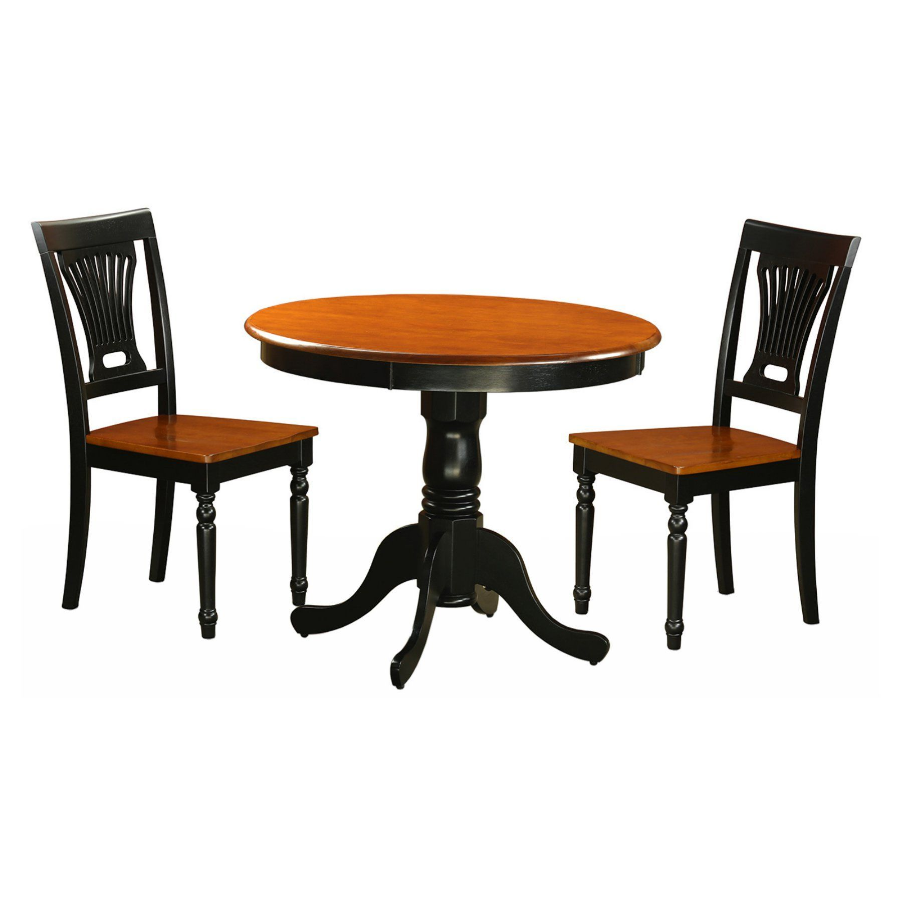 East West Furniture Antique 3 Piece Pedestal Round Dining Table