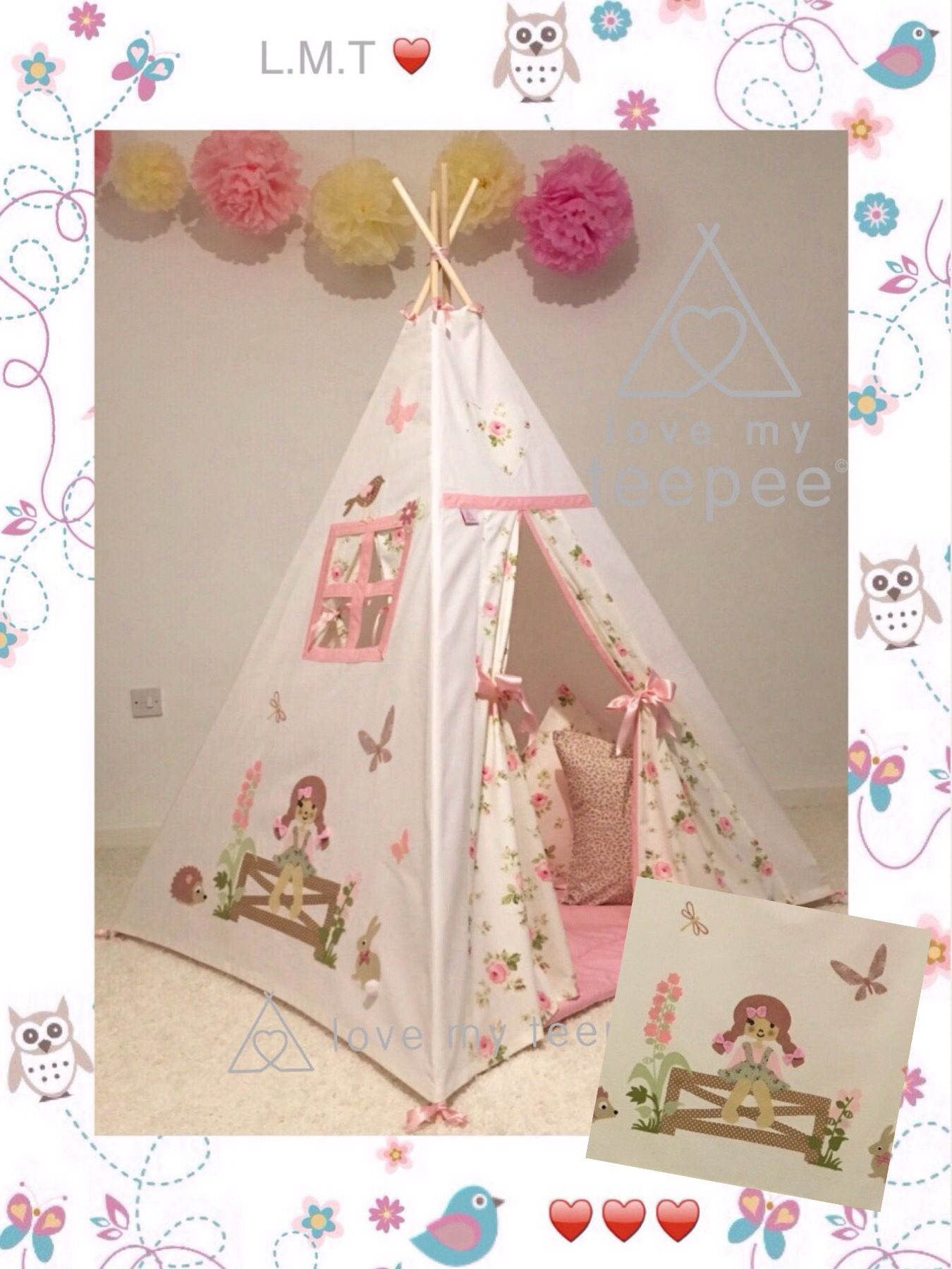Childrens Personalise Country Girl Pink Rose Teepee Mat Cushions