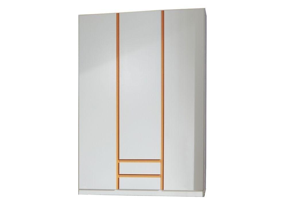 Kleiderschrank Bibi weiss/orange 7109. Buy now at https://www.moebel-wohnbar.de/kleiderschrank-bibi-kinderschrank-mit-schubladen-weiss-orange-7109.html