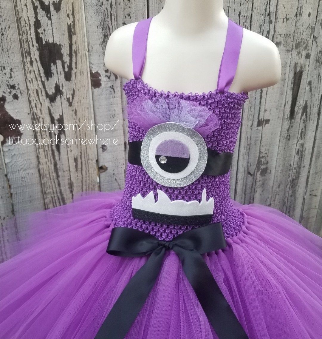 Minion Tutu Dress Despicable Me Birthday Party Halloween Costume Angry Minion Monster Purple Tutu Dress Baby Minion Tutu Tutu Dress Purple Tutu Dress [ 1136 x 1080 Pixel ]