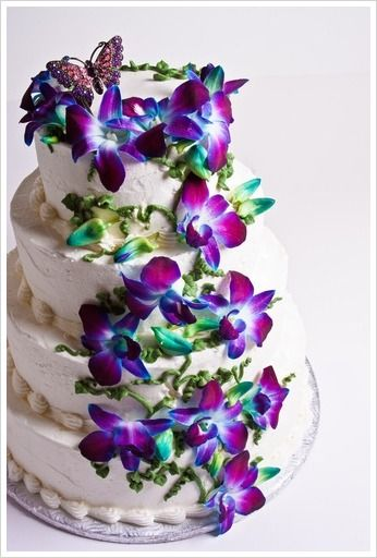 Blue And Purple Orchids Wedding Cake Orchid