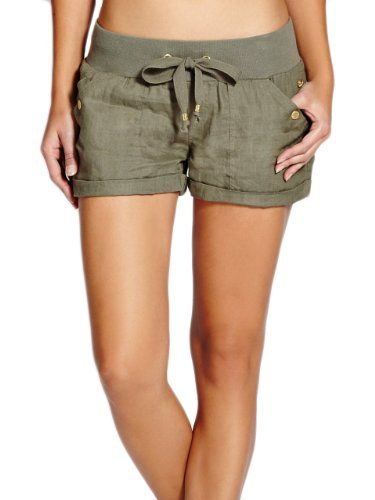 G by GUESS Women's Deirdre Linen Shorts, DRY MOSS (XS) G by GUESS ...