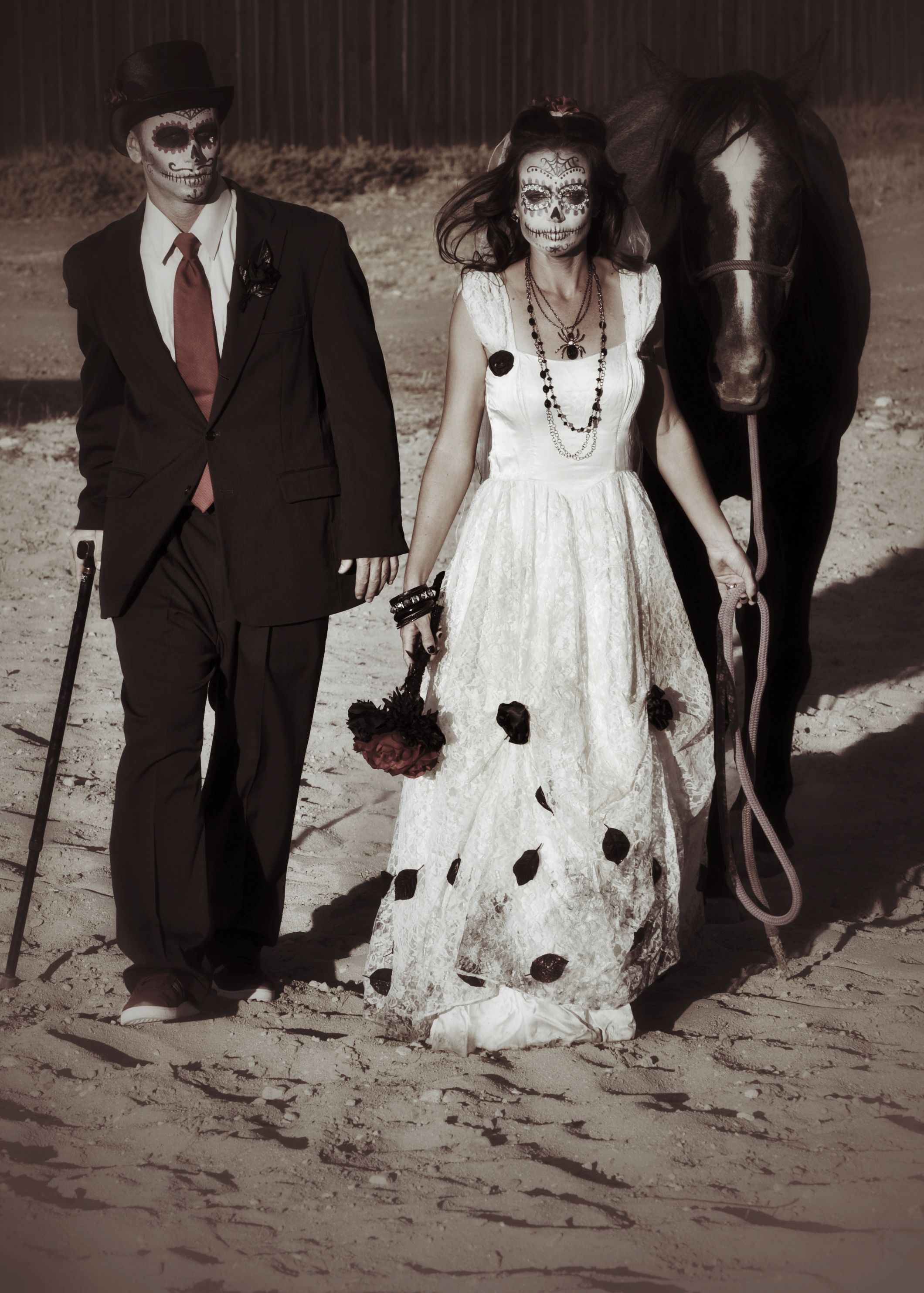 Day of the Dead bride and groom costume costume and make