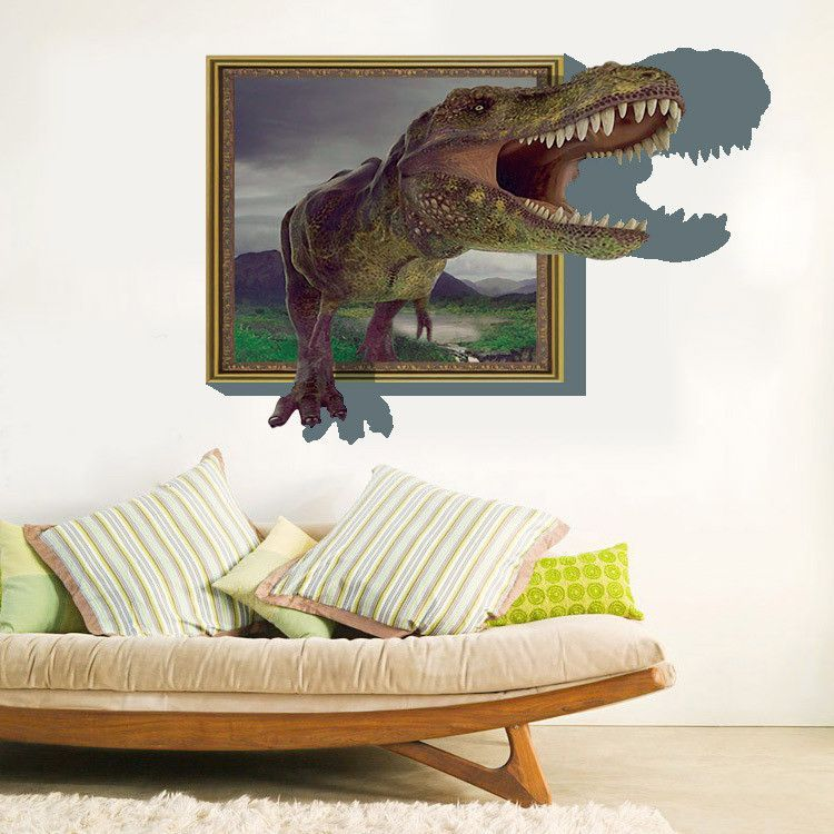 D Dinosaur Come Out From Frame Wall Sticker Products - Dinosaur wall decals nursery