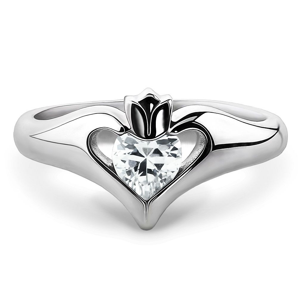 Sterling silver white cz uls 16434cz ladies modern claddagh ring interesting twist on the traditional claddagh design ladies silver claddagh ring uls 16434cz biocorpaavc Gallery