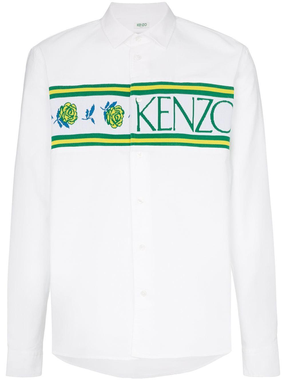 3878ec3d KENZO KENZO KNITTED LOGO PANEL COTTON SHIRT - WHITE. #kenzo #cloth ...