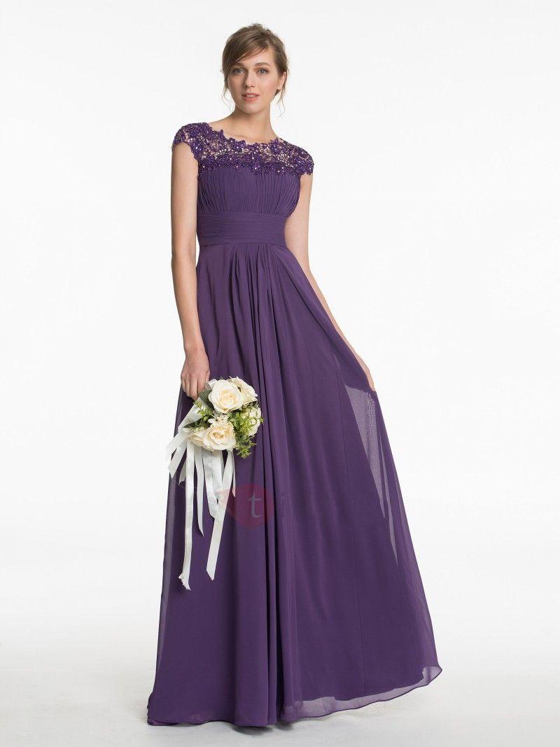 Click to buy ucuc vestido de noiva simple purple cap sleeves long