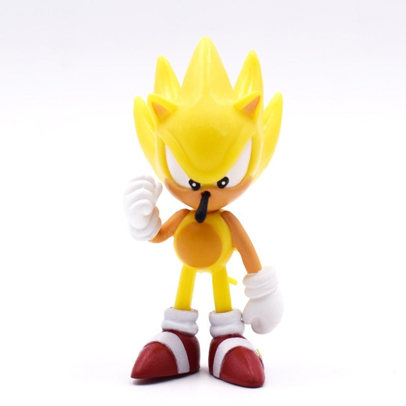 New 6pcs Sonic The Hedgehog Tails Shadow Amy Rose PVC Keychain Pendant Ring Set