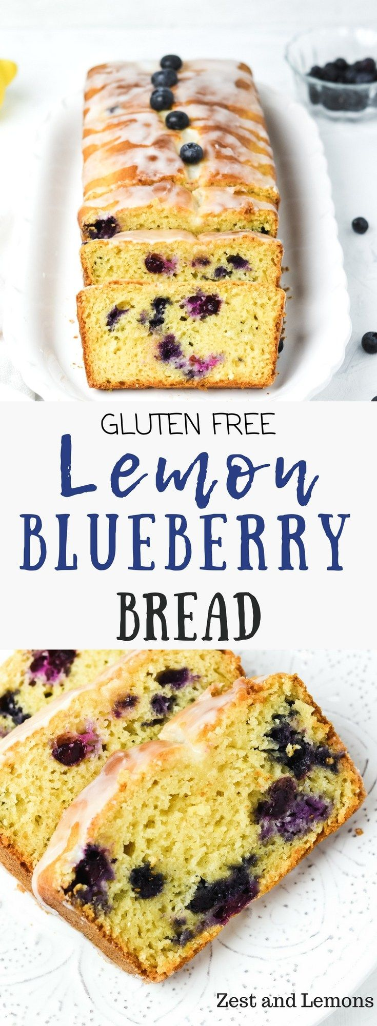 Gluten free lemon blueberry bread, sweet tangy and bursting with fresh blueberries! - Zest and Lemons #glutenfree #quickbread #glutenfreedessert #glutenfreebreakfasts