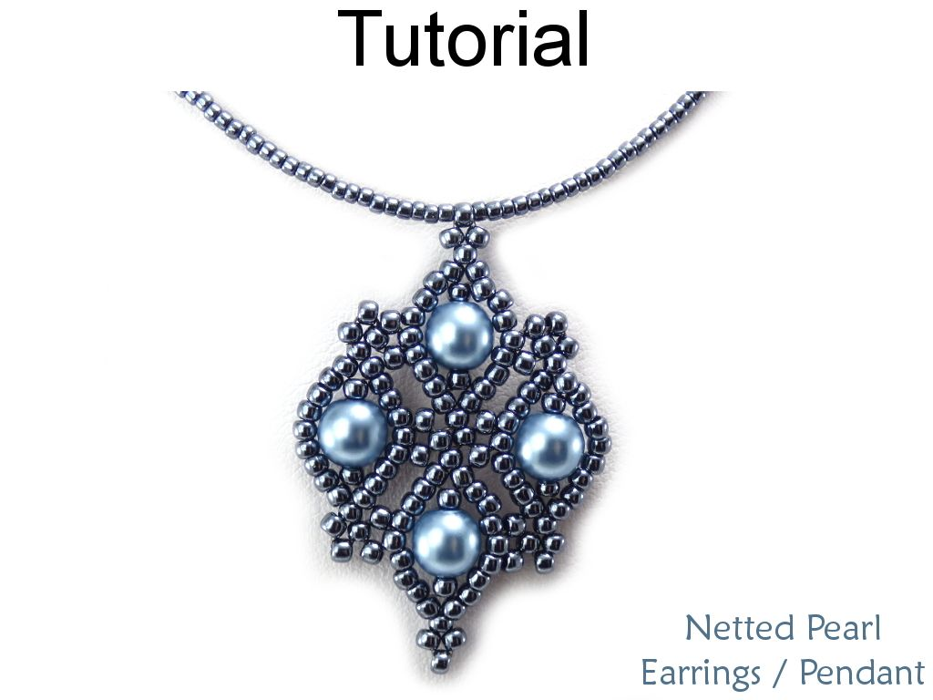 Beautiful Netted Net Sch Earrings Pendant Necklace With Pearls And Seed Beads Jewelry Making Pattern Tutorial By Simple Bead Patterns