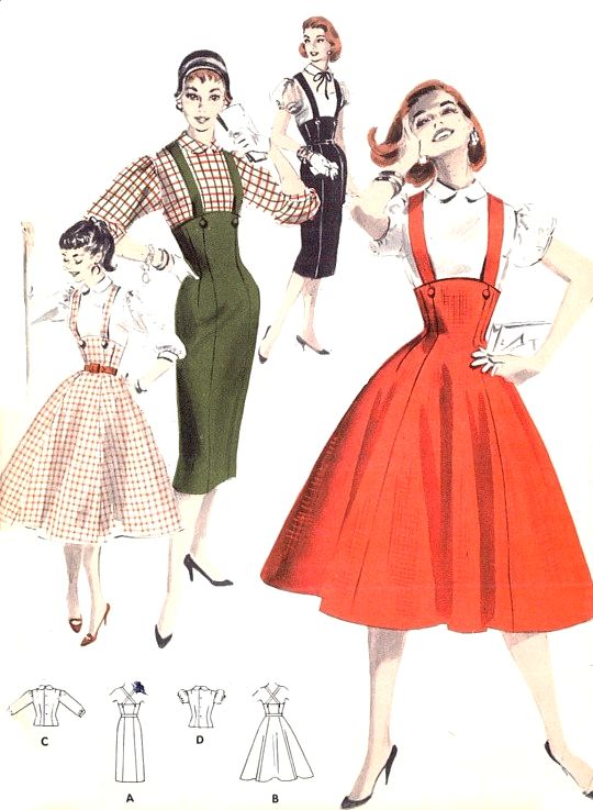 1950s ROCKABILLY Slim or Full Skirt Pattern BUTTERICK 7722 Retro Suspender Skirt Jumper Dress Blouse Bust 29 Vintage Sewing Pattern