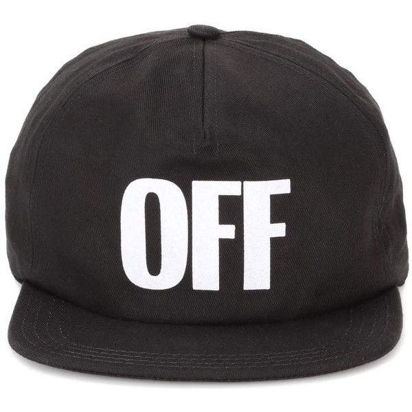 Off-White Cap Big Off Baseball Hat ($135) ❤ liked on Polyvore featuring accessories, hats, black, champagne cap, ball cap, baseball cap hats, baseball caps and ball cap hats