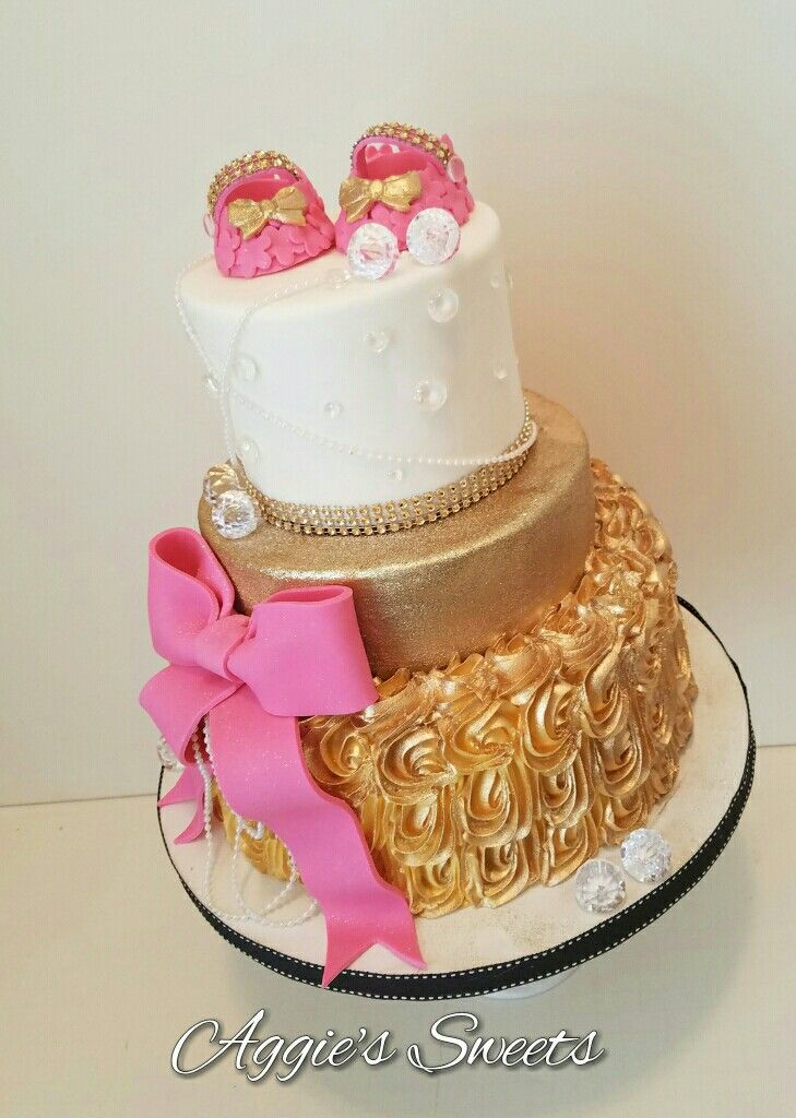 Pink Gold Diamonds And Pearls Baby Shower Cake Aggie