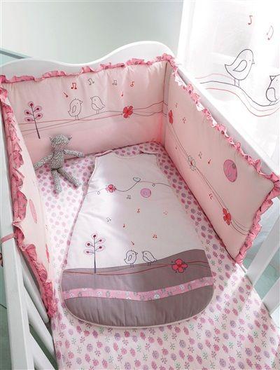 tour de lit bébé brodé thème cui-cui rose - vertbaudet enfant