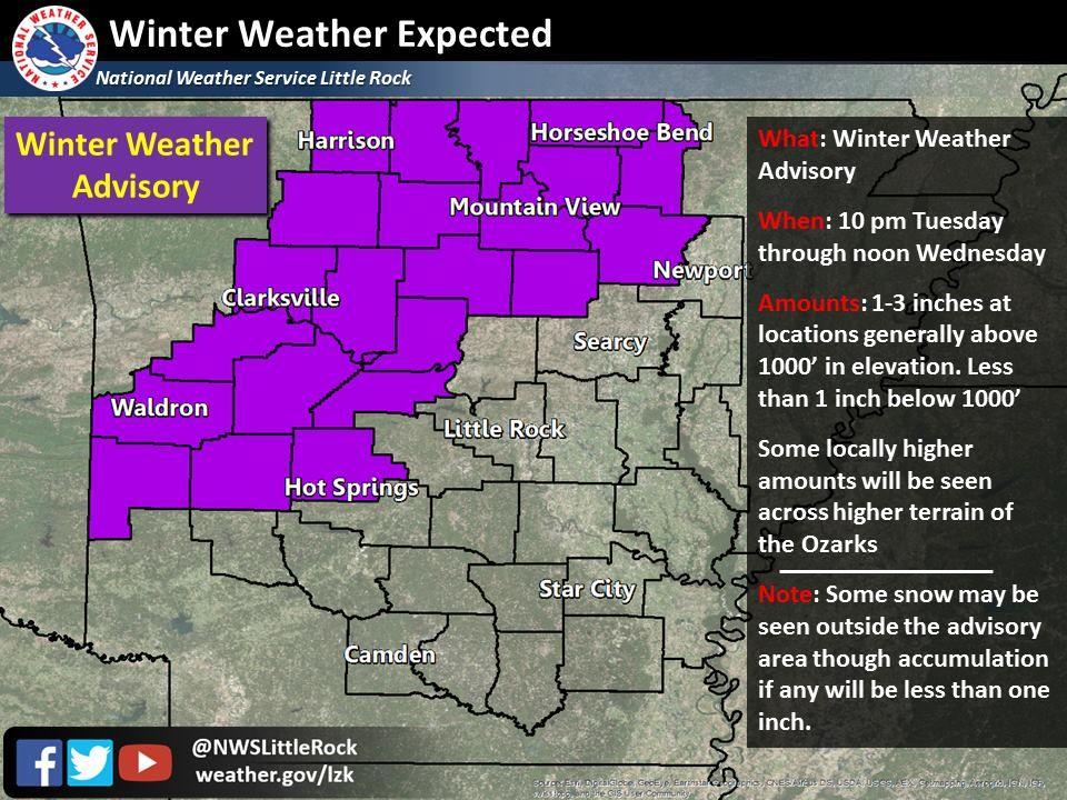 says For Little Rock & Central Arkansas Thru Wednesday AM