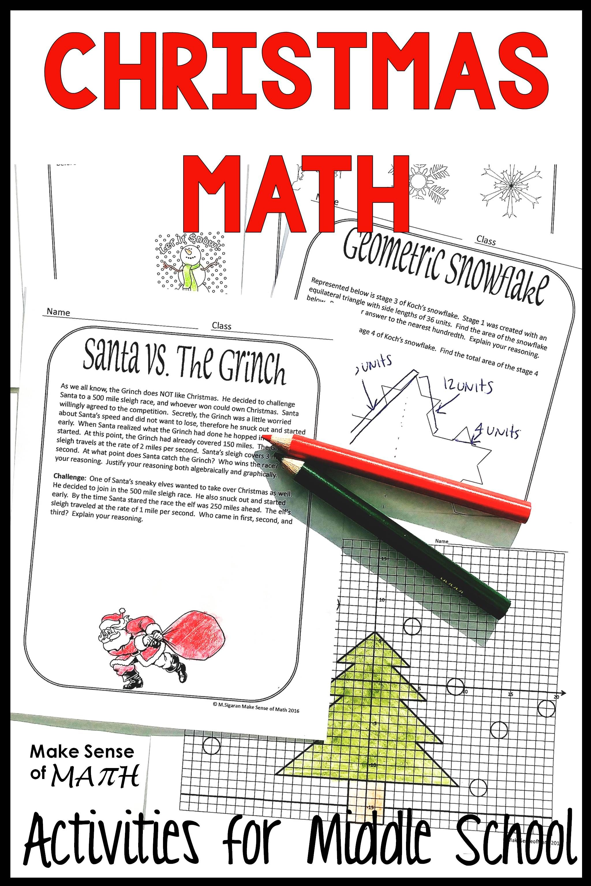 Christmas Holiday Amp Winter Middle School Math Activities