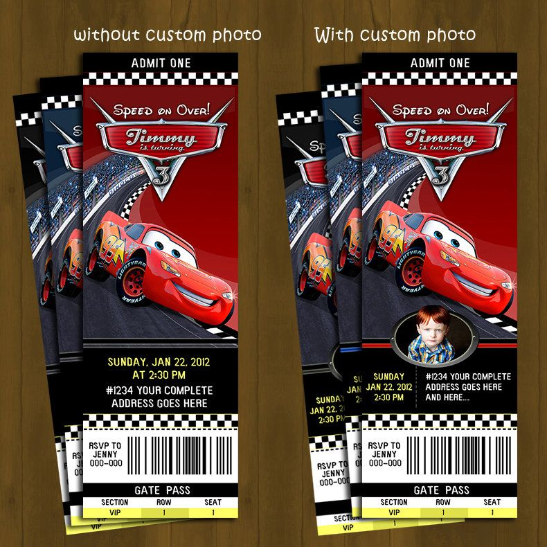 CARS Lightning Mc Queen Ticket Invitation by SplashboxPrintables – Printable Cars Birthday Invitations